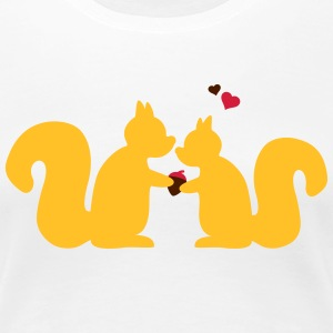 squirrels in love couple T-Shirts - Women's Premium T-Shirt
