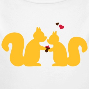 squirrels in love couple eekhoorns in liefde paar Sweaters - Baby bio-rompertje met lange mouwen