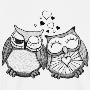 owls in love  ugler i kærlighed  T-shirts - Herre premium T-shirt