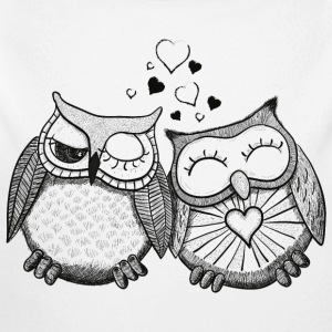 owls in love  búhos en el amor  Sudaderas - Body manga larga bebé