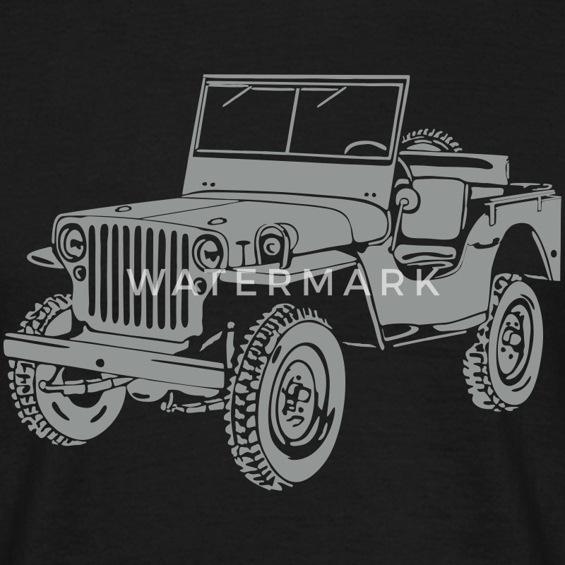 Jeep Willys Overland Offroad 4x4 T-Shirt Tee shirts - T-shirt Homme