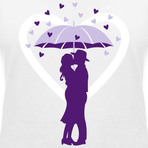 couple under the umbrella T-Shirts - Women's V-Neck T-Shirt