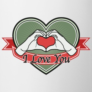 Hand Heart (Green) I love you - Tasse