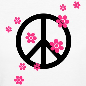 Peace Flowers Love Freedom Symbol Summer Hippie T-Shirts - Women's Organic T-shirt