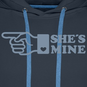 Finger She is mine! girlfriend like hands gift fun Sweatshirts - Herre Premium hættetrøje