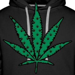 Sweat cannabis logo multiple vert - Sweat-shirt à capuche Premium pour hommes