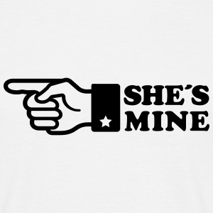 Finger She is mine! girlfriend like hands gift fun Tee shirts - T-shirt Homme