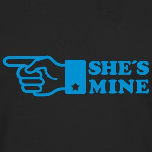 Finger She is mine! girlfriend like hands gift fun Long sleeve shirts - Men's Premium Longsleeve Shirt