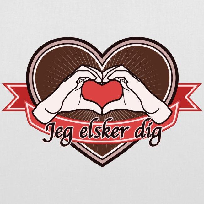 """heart-brown """"Jeg elsker dig"""""""