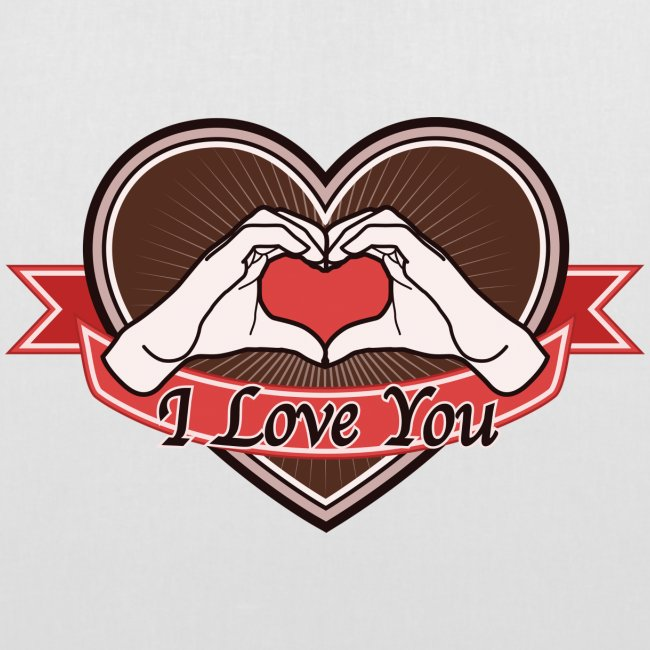 """heart-brown """"I love you"""""""