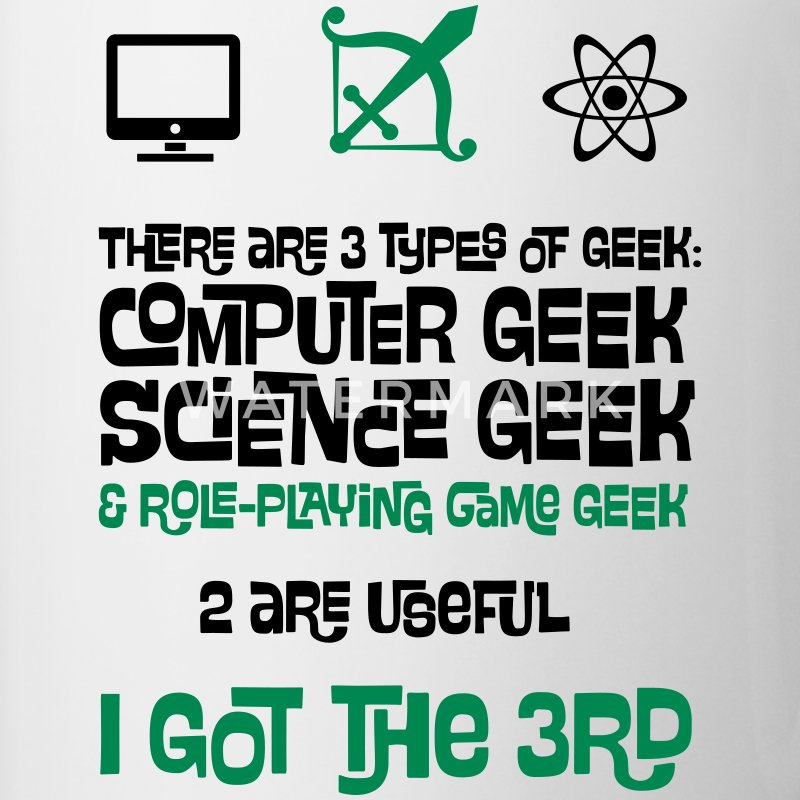 3 Types of Geek - Computer, Science and RPG Bottles & Mugs - Contrasting Mug