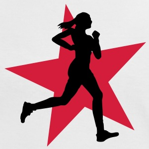 running woman with star 2c / jogging T-shirts - Kontrast-T-shirt dam