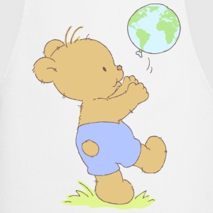Bear boy playing with earth balloon.  Aprons - Cooking Apron