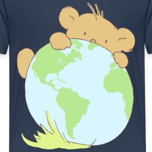 Cute bear cub hiding behind earth ball. Shirts - Teenage Premium T-Shirt