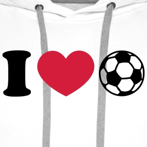 Soccer Football Heart I like love world champion  Sudaderas - Sudadera con capucha premium para hombre