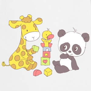 Giraffe and Panda playing with Blocks  Aprons - Cooking Apron
