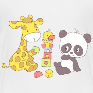 Giraffe and Panda playing with Blocks Shirts - Kids' Premium T-Shirt