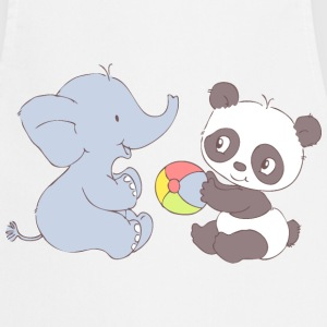 Elephant and Panda playing with ball  Aprons - Cooking Apron