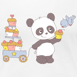 Panda with cart of cupcakes T-Shirts - Women's Premium T-Shirt