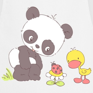 Panda and Duckling looking at Ladybug  Aprons - Cooking Apron