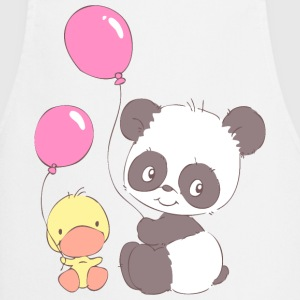 Panda and Duckling with Balloons  Aprons - Cooking Apron