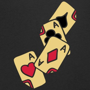 Poker Cards Game Ace Heart Spade Cross Caro Tattoo T-skjorter - T-skjorte med V-utsnitt for menn