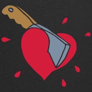 Broken Hearts Love Hate Axe Knife Messer Axt Kill T-Shirts - Men's V-Neck T-Shirt