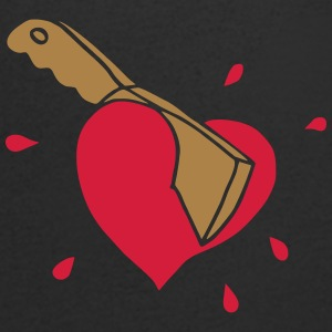 Broken Hearts Love Hate Axe Knife Messer Axt Kill T-shirts - T-shirt med v-ringning herr