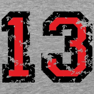 The Number Thirteen - No. 13 (two-color) red T-Shirts - Men's Premium T-Shirt