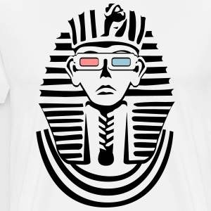 Pharaoh in black and white with 3D glasses  T-Shirts - Men's Premium T-Shirt