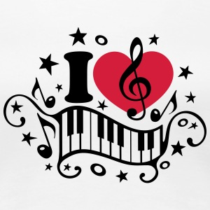 I love music heart note piano clef classic choir   - Women's Premium T-Shirt