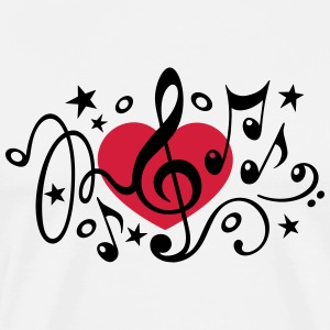 Music heart note I love classical choir star clef  - Men's Premium T-Shirt