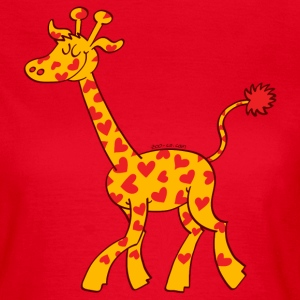 Red Heart Spotted Giraffe T-Shirts - Women's T-Shirt
