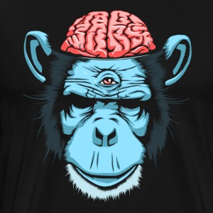 Sort Brain Chimp T-shirts - Herre premium T-shirt