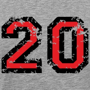 The Number Twenty - No. 20 (two-color) red T-Shirts - Men's Premium T-Shirt