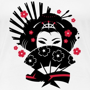 A geisha with a fan  T-Shirts - Women's Premium T-Shirt