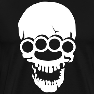 Skull with brass knuckles  T-Shirts - Men's Premium T-Shirt