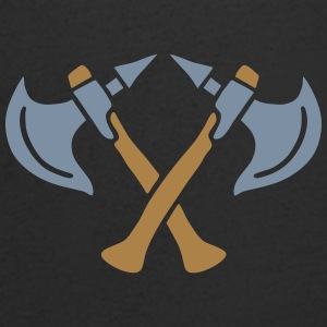 brave warrior gladiator axe tomahawk knights fight T-shirts - T-shirt med v-ringning herr