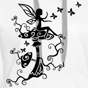 Fée Elf Magic Mushroom Papillon Printemps Été Sweat-shirts - Sweat-shirt à capuche Premium pour femmes