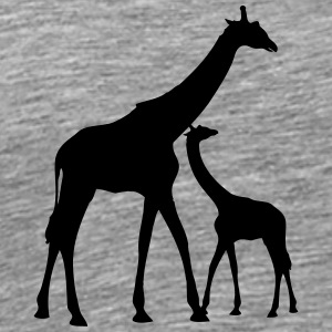 Mama Papa giraffe young family parents T-Shirts - Men's Premium T-Shirt