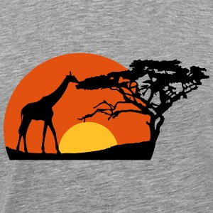 Africa sunset tree giraffe landscape feeding in th T-Shirts - Men's Premium T-Shirt