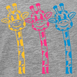 3 Funny comic cartoon giraffe bright colors design T-Shirts - Men's Premium T-Shirt
