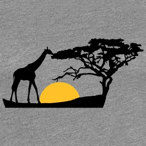 Africa sunset tree giraffe landscape feeding in th T-Shirts - Women's Premium T-Shirt