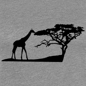 Africa tree giraffe landscape eating Savannah T-Shirts - Women's Premium T-Shirt