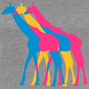 3 Giraffes outline colors colorful walking design T-Shirts - Women's Premium T-Shirt