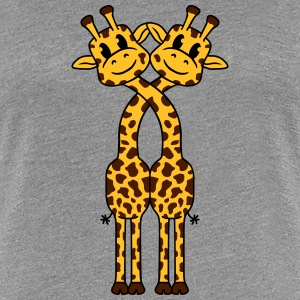2 Giraffe lovers love cute couples T-Shirts - Women's Premium T-Shirt