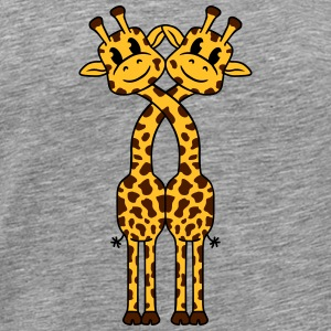 2 Giraffe lovers love cute couples T-Shirts - Men's Premium T-Shirt