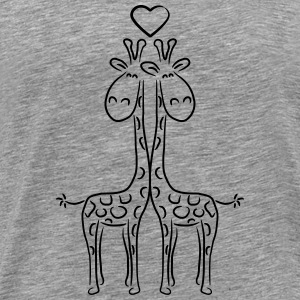 2 Giraffes love couple heart couples T-Shirts - Men's Premium T-Shirt