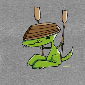 Funny dinosaur with a rowing boat T-Shirts - Women's Premium T-Shirt