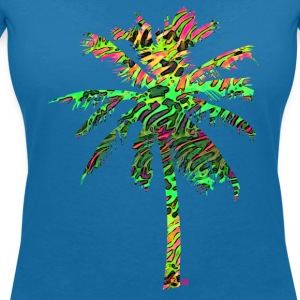 Neon flamingo palmtree T-Shirts - Women's V-Neck T-Shirt